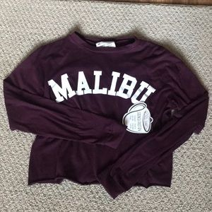 NWT MALIBU Long sleeve cropped tee